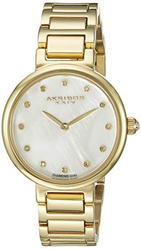 Akribos XXIV Women's AK877YG Round White Mother of Pearl Dial Two Hand Quartz Gold Tone Bracelet Watch