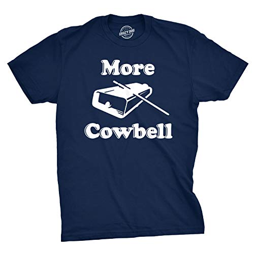 Mens More Cowbell Tshirt Funny Novelty Comedy Quote Tee (Blue) - S