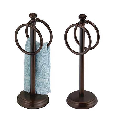 mDesign Decorative Metal Fingertip Towel Holder Stand for Bathroom Vanity Countertops to Display and Store Small Guest Towels or Washcloths - 2 Hanging Rings, 14.25 High, 2 Pack - Bronze