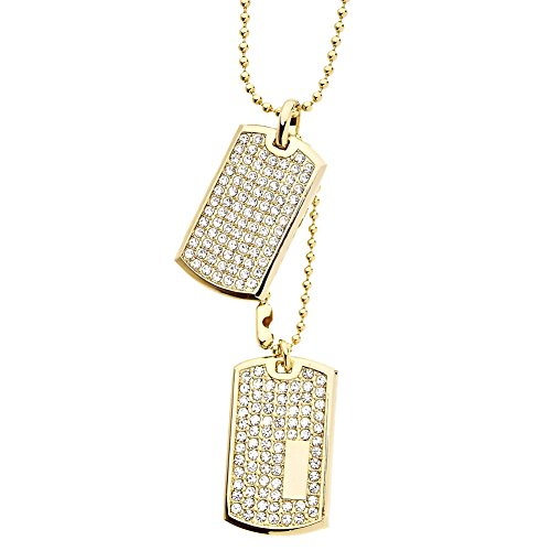 Iced Out Bling Ball Chain Dog Tag Pendant - gold Ball Chain Iced Dog Tag