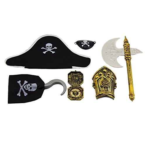 Adorox 6 Pcs Pirate Eye Patch Hat Skull Skeleton Costume Pack Halloween Play Set (Skull Pirate Hook Hand)
