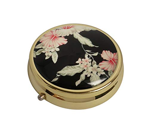 XingBoo Vintage Floral Custom New Hot Round Medicine Tablet Pocket Travel Gold Pill Case Vitamin Glass Decorative Box ()
