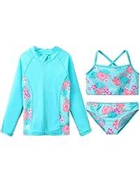 ZNYUNE Girls Rash Guard 3-Piece Swimsuit Set UPF 50+ UV Surfing Sunsuit Jacket+Bikini +Bottom Kids Summer Beach Bathing Suit Cyan 10A