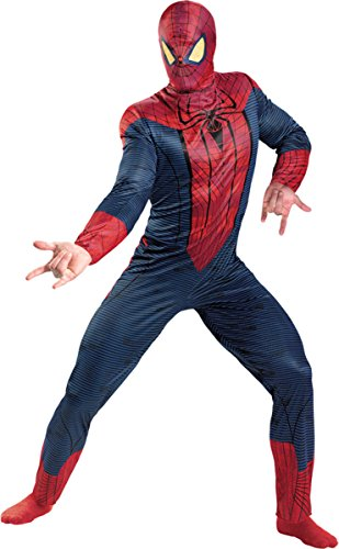 [Morris Costumes Men's SPIDER-MAN MOVIE ADULT, Red/Blue/Black,50-52] (Spiderman Outfit Adult)