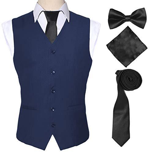 4PC Formal Suit Vest Necktie Hanky Cufflinks Sets for Mens,Blue,5XL