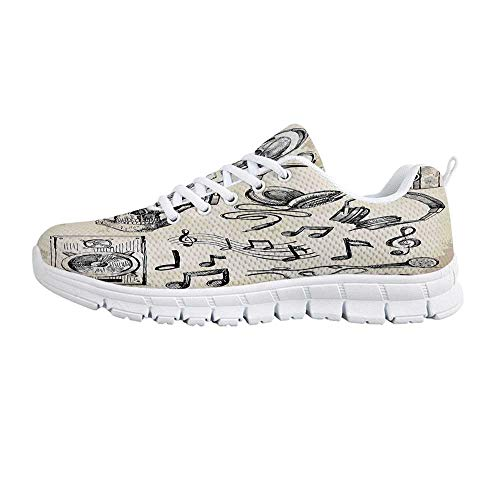 YOLIYANA Music Decor Fashion Gym Shoes,Sketchy Music Background Hipster Skull with Headphones Record Player Mic Speakers Print Sneakers for Girls Womens,US Size 7.5 ()