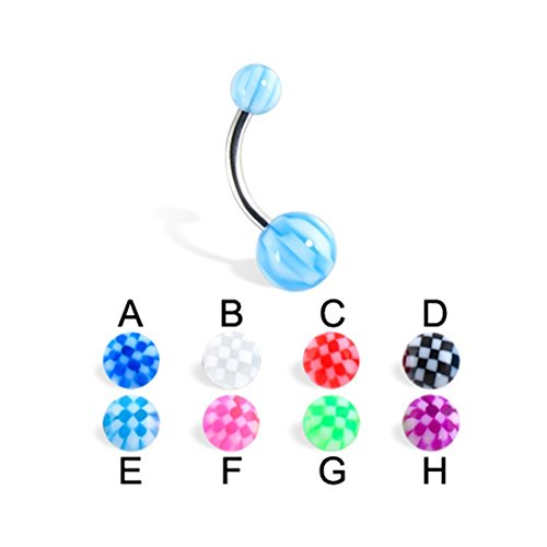 MsPiercing Checker Belly Button Ring With Acrylic Balls, Red - C Checker Belly Button Ring