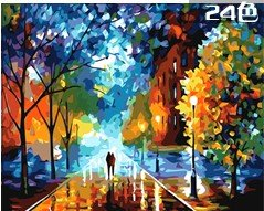 "W&Hstore 13418 DIY Paint By Number Kit,Colorful Night,20""X16"