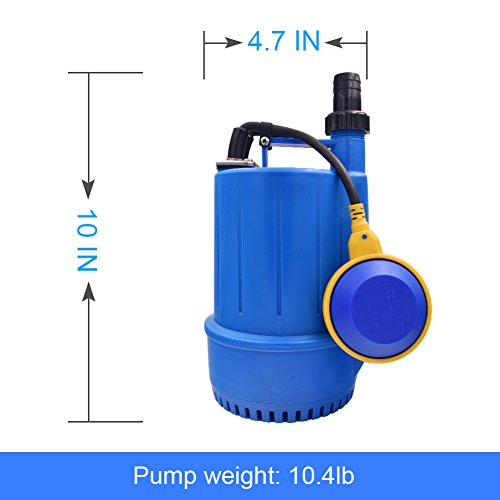 SONGJOY Submersible Utility Pump 1/6 HP Clean Dirty Sump Pump with Float Switch for Swimming Pool Pond Basement Drainage Garden Irrigation Transfer by SONGJOY (Image #4)