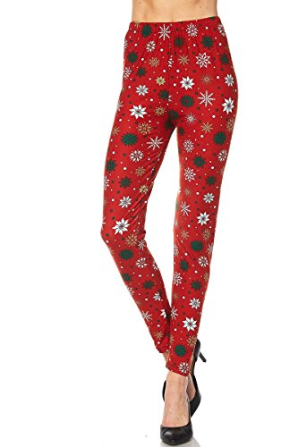 (Expert Design Women's Regular Snowflake Deco Printed Leggings - Red Green White)