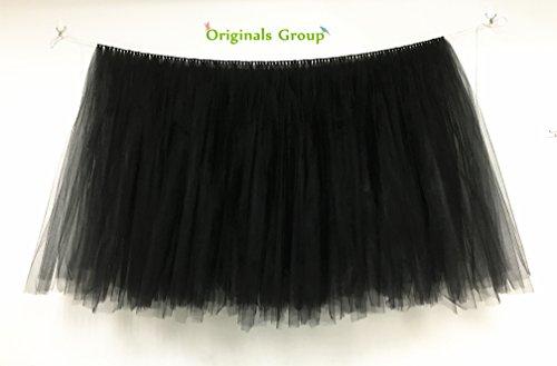 Originals Group Tutu Table Skirt, Mint Tulle Tutu Table Skirt Decor, Birthday Event Wedding Party Decoration (1 piece, Black)
