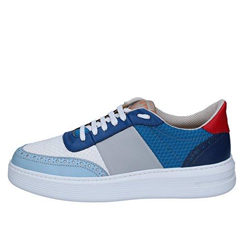 Bianco Pelle Tessuto Blu Brimarts Sneakers Uomo xv0BOp8
