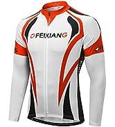 FEIXIANG Cycling Bike Shirts for Men, Short Sleeve Bicycle Jersey UPF 50+ Cool Dry Full Zipper Ri...