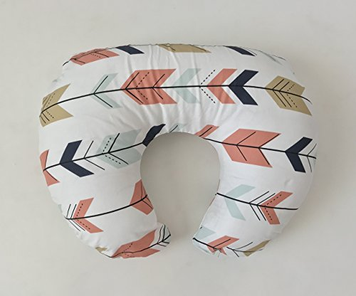 Nursing Pillow Cover - Coral, Navy, Gold Fletching Arrows