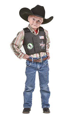 Big Country Toys PBR Rodeo Vest - Kids Play Vest - Kids Bouncy Toy Accessory - Bull Riding Play Vest - Pretend Rodeo Play Vest - Medium - Kids 4-6 Years Old (Medium) Black -