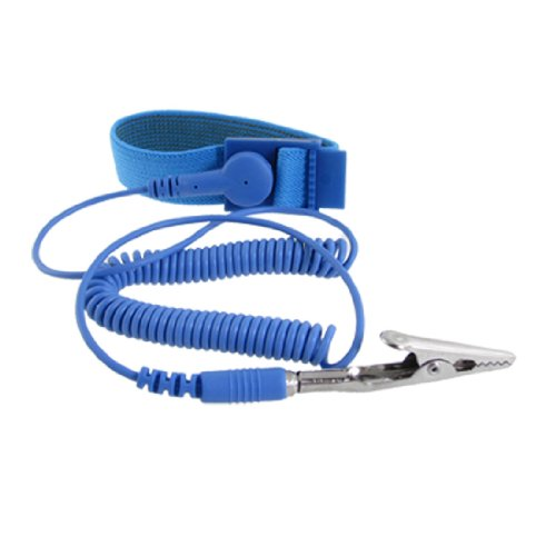 - uxcell Anti-static Wrist Band Grounding Sky Blue Elastic Coiled Cable