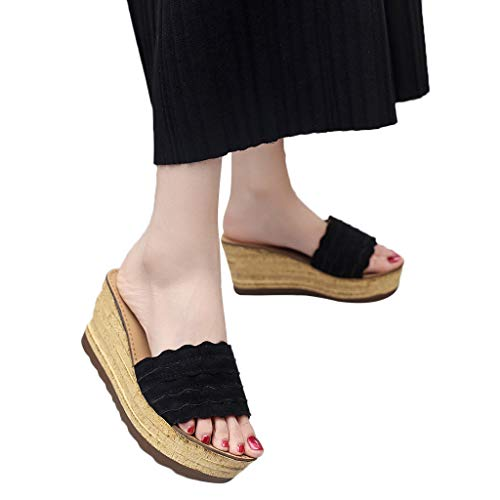 2019 Donne toe Ihengh Shoes Elegante Semplice Piatte Moda Zeppa Nero Casual Nuovo Scarpe Piattaforma Peep Women Estate Ragazza Fibbia Spiaggia Sandali Romana Vintage SxqYRqrXw
