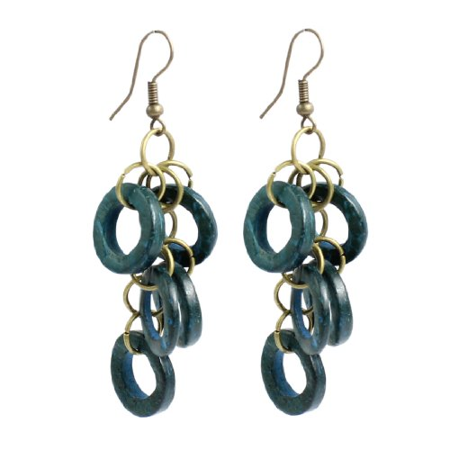 Lady Teal Blue Round Ring Wooden Beads Design Pendant Fish Hook Earrings Pair