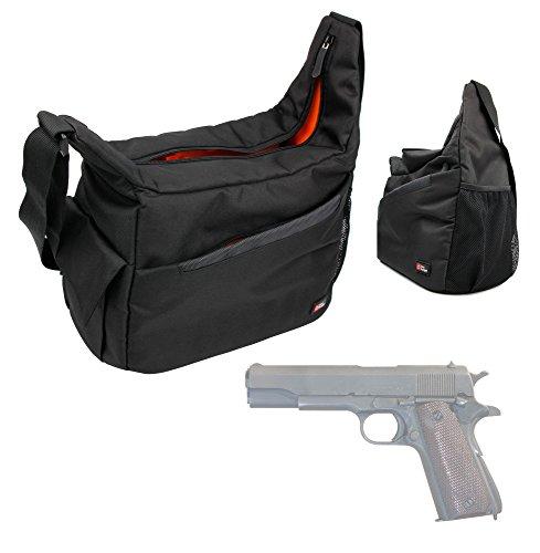 DURAGADGET Colt M1911 Handgun Carry & Storage Bag Nylon Shoulder Bag in Black & Orange With Customizable Interior for Colt M1911 Pistol