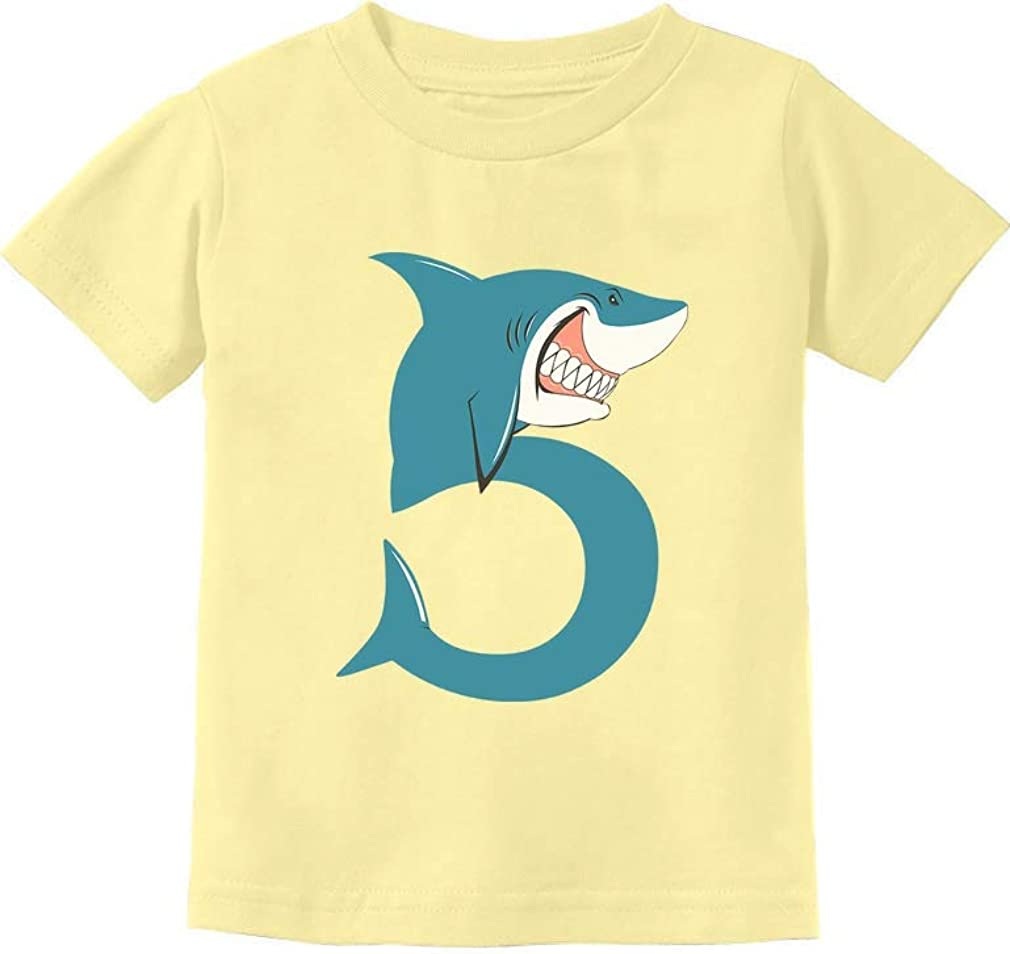 5th Birthday Shark Party Gift for Five Year Old Toddler Kids T-Shirt