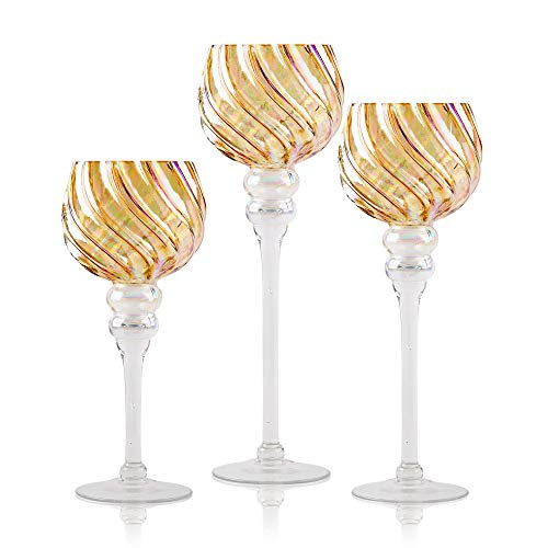 Centerpiece Accent - Long Stem Glass Candle Holders, Set of 3 Amber Luster Hurricanes for Tealight, Votive and Pillar Candles - Home Decor, Wedding Accent, Event or Party Centerpiece