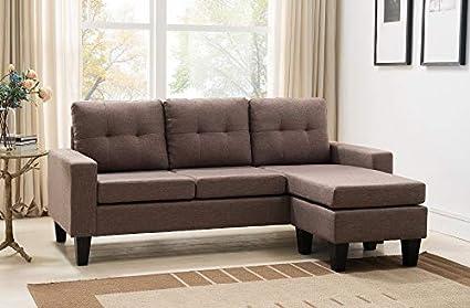Admirable Amazon Com Esofastore Sectional Sofa Set Dark Brown Sand Spiritservingveterans Wood Chair Design Ideas Spiritservingveteransorg
