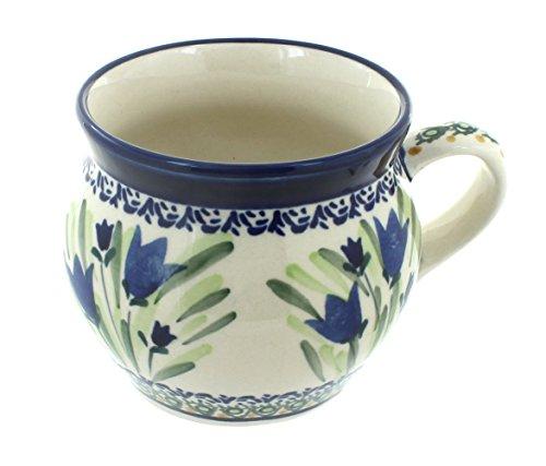 (OKSLO Polish pottery blue tulip bell shape mug)