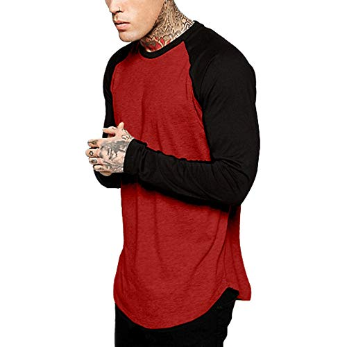 POQOQ Henley Shirts Men Classic Comfort Soft Regular Fit Long Sleeve T-Shirt Tee Casual Slim Fit Cotton Authentic Originals Long Sleeve XXL Red