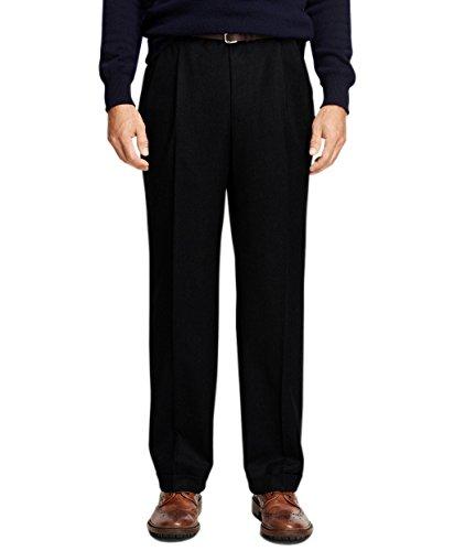 Brooks Brothers Mens Madison Fit Pleated Cuffed Hem Dress Pants Black (34W x 32L)