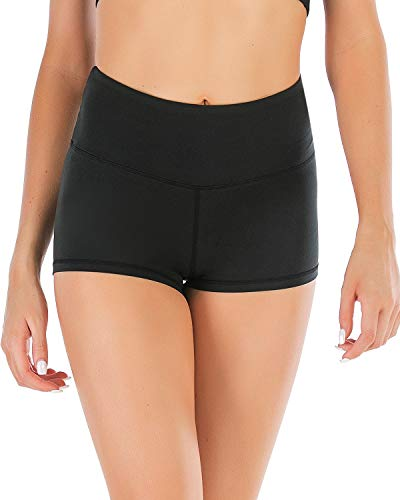 SVOKOR Sexy Solid Black Yoga Fitness Booty Shorts for Women-High Waisted Short Shorts