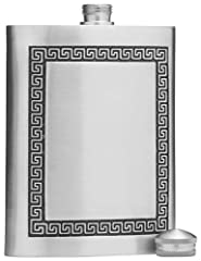 "This Pewter flask has a twist off cap and is made to hold 5 oz of spirits. Measuring 4.4"" X 3.3"", it features a timeless classic design etched on the front of the flask. Slim and sleek, these flasks are loved by both sexes. Made in Thailand. ..."