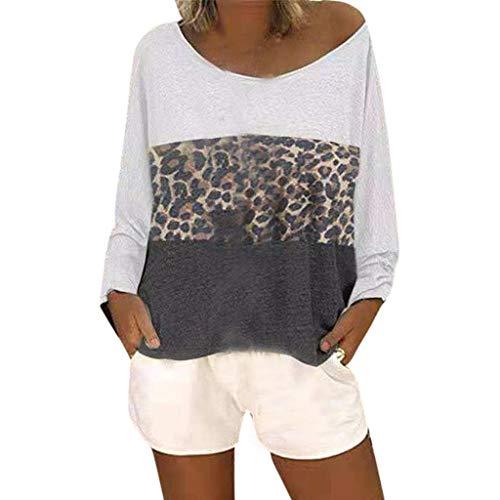 stampa con leopardo patchwork donne delle maniche lunghe a lunghe maniche maniche a Camicetta Bhydry lunghe con in OwnqxW47vS