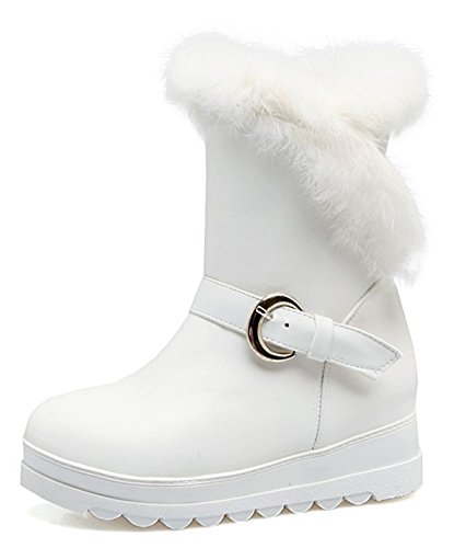 Lined White Aisun Warm Round Heels Winter Faux Toe Mid Snow Fur Elevator Platform Pull Women's Strap Boots On Ankle Buckle IwI0rq1WH