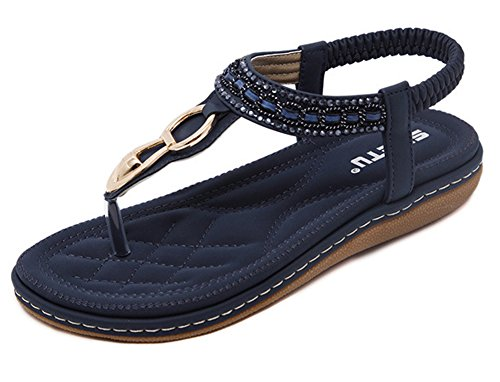 Maybest Women Sandwich Sandals Rhinestone Clip Toe Beach Shoes Elastic T-Strap Bohemia Flat Slippers Thongs Flip Flop Blue 5 B (M) (Elastic Thong Flip Flops)
