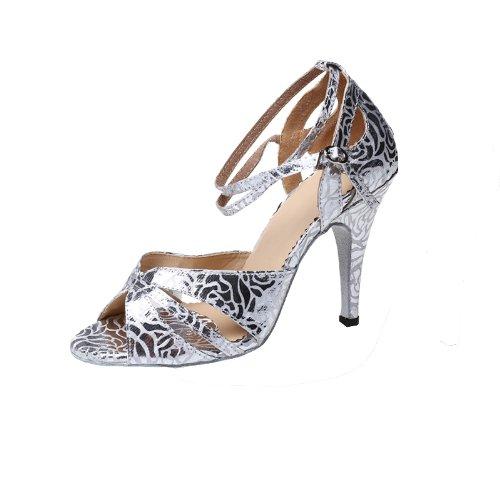 Abby Q-6128 Womens Litin Shoes Ballroom Dance 3.3/4 Flared Heel Sivlery