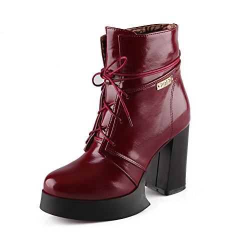 AgooLar Women's Low-Top Lace-up Soft Material High Heels Round Closed Toe Boots Claret lhEeU