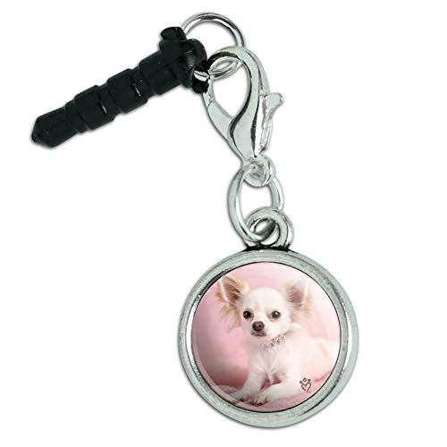 - Chihuahua Puppy Dog Sitting in Pink Mobile Cell Phone Headphone Jack Anti-Dust Charm fits iPhone iPod Galaxy