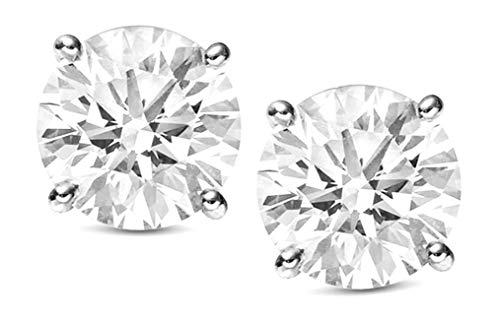 Jewlery By Bruno Round Diamond Stud Earrings Solitaire For Women Martini Set in 14K White Gold 2.10 Crt Certified (E-F Color,VS2/SI1Clarity) ()