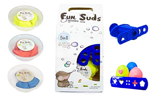 CAprimeproducts Kids Moldable soap, Play-Dough soap Gift Set ( Includes: 3 Tubs, Push Tools & Gift Box) - Fun SUDS