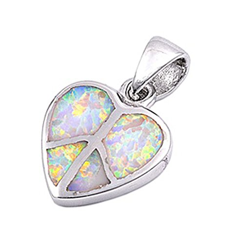 (Peace Sign Heart Pendant White Simulated Opal .925 Sterling Silver Charm - Silver Jewelry Accessories Key Chain Bracelet Necklace Pendants)