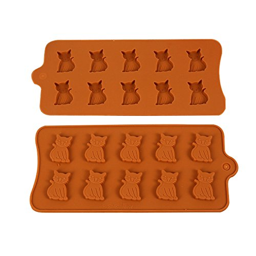Joinor 1 Set of 2pcs Cute Cat Silicone Fondant Gummy Candy Mold, Chocolate Mold, Jelly Mould -