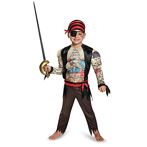 [Disguise 84015M Pirate Toddler Muscle Costume, Medium (3T-4T)] (Toddler Boys Pirate Costumes)