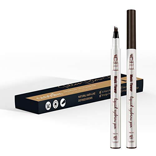Tattoo Eyebrow Pen Waterproof Ink Gel Tint with Four Tips, Long Lasting Smudge-Proof Natural Hair-Like Defined Brows All Day (Chestnut) by AsaVea (Image #8)