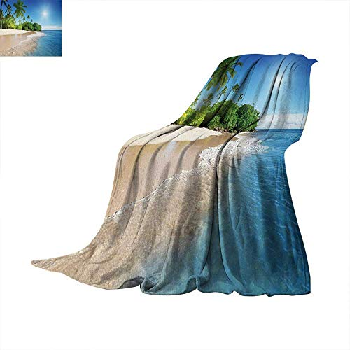(Blue Throw Blanket Ocean Tropical Palm Trees on Sunny Island Beach Scene Panoramic View Picture Digital Printing 50