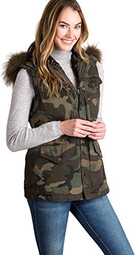Alexis Camouflage Vest with Rabbit Fur Lining and Fur Trim