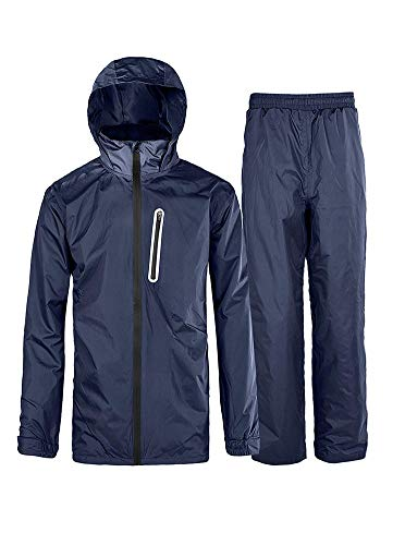 Rain Suit Gear Coat for Men Waterproof Hooded Rainwear Jacket & Trouser Navy XX-Large ()