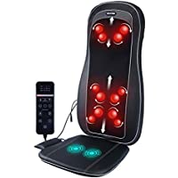 Zerovida Neck Back Portable Cushion Massager With Heat Adjustment And 12 Massage Nodes For Home Office Car, With Auto Adapter