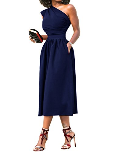 Womens One Shoulder Dress Elegant Summer Sexy Formal Evening A Line Midi Dresses by GAMISOTE