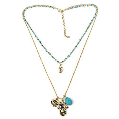 (Bluelans Turquoise Hamsa Fatima Hand Blue Evil Eye Pendant Double Layers Beads Necklace)