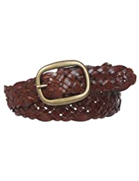 "1 1/2"" (37 mm) Womens Oval Braided Woven Leather Belt, Tan 